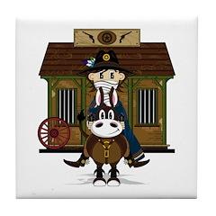 Cowboy at Jailhouse Tile Coaster