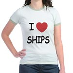 I heart ships Jr. Ringer T-Shirt