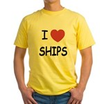I heart ships Yellow T-Shirt