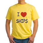 I heart ships Yellow T-Shirt
