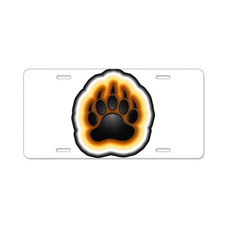 Bear Pride Glowing Paw Aluminum License Plate