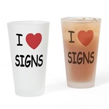 I heart signs Drinking Glass