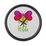 Hilda The Butterfly Large Wall Clock