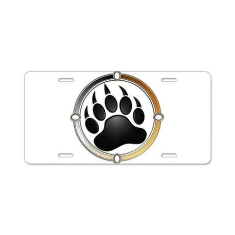 Bear Paw In Pride Circle Aluminum License Plate