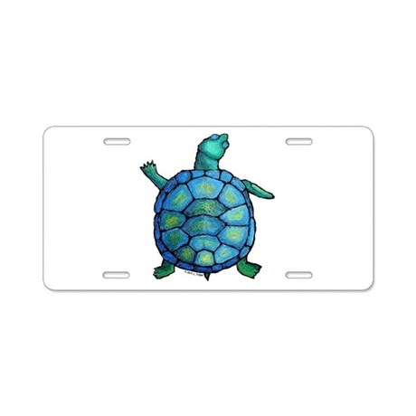 Blue Turtle Boogie Aluminum License Plate