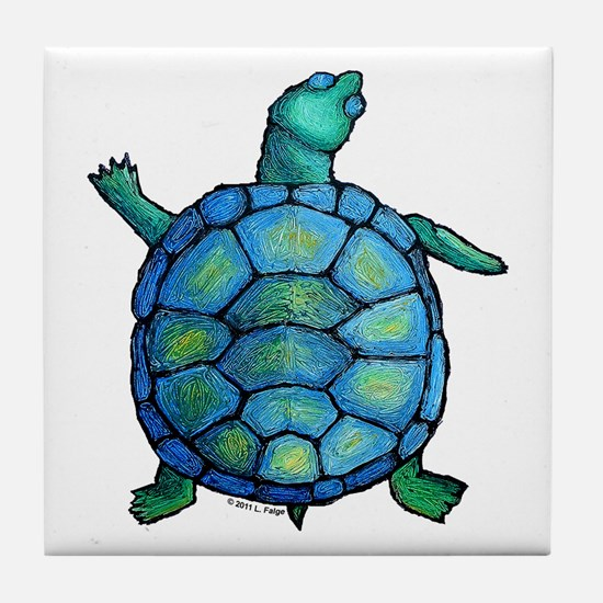 Blue Turtle Boogie Tile Coaster