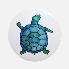 Blue Turtle Boogie Ornament (Round)