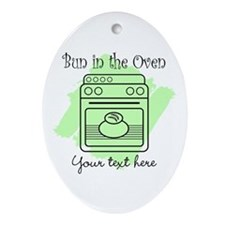 Bun in the Oven (green) Ornament (Oval)