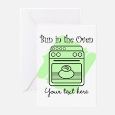 Bun in the Oven (green) Greeting Cards (Pk of 10)