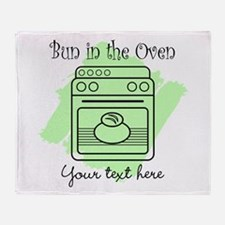 Bun in the Oven (green) Throw Blanket