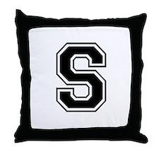 Varsity Letter S Throw Pillow