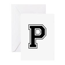 Varsity Letter P Greeting Cards (Pk of 10)