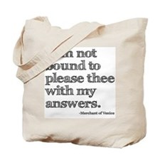 Not Bound to Please Shakespeare Tote Bag