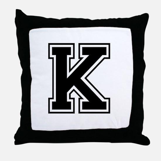 Varsity Letter K Throw Pillow