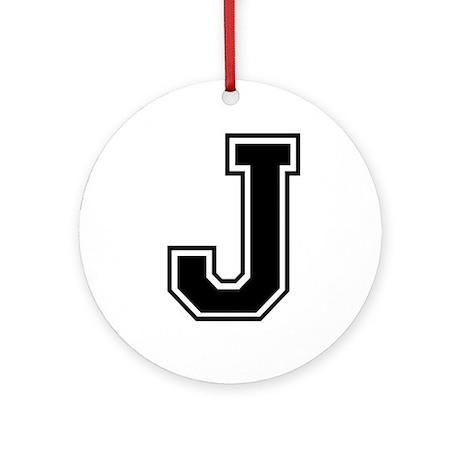 Varsity Letter J Ornament (Round)