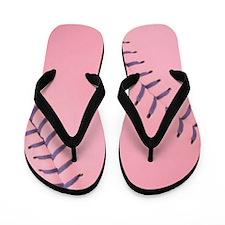 Pink Softball Flip Flops