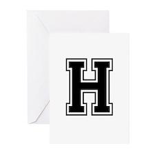 Varsity Letter H Greeting Cards (Pk of 10)