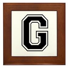 Varsity Letter G Framed Tile