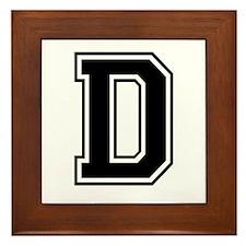 Varsity Letter D Framed Tile