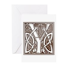 Celtic Letter Y Greeting Cards (Pk of 10)