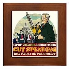 Ron Paul vs Zombie Washington Framed Tile