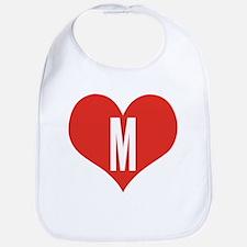 Heart M letter - Love Bib