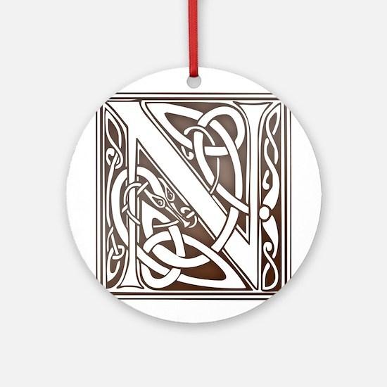 Celtic Letter N Ornament (Round)