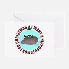 Hippo for Christmas Greeting Card