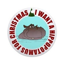 Hippo for Christmas Ornament (Round)
