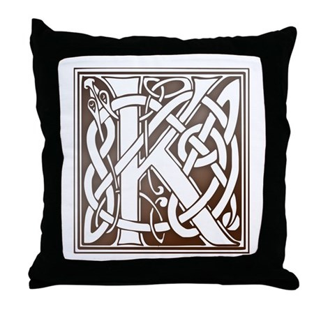 Celtic Letter K Throw Pillow by thewishshop
