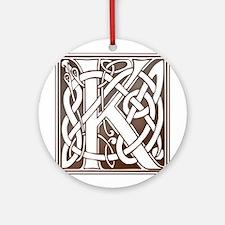 Celtic Letter K Ornament (Round)