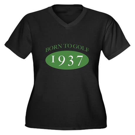 1937 Born To Golf Women's Plus Size V-Neck Dark T-
