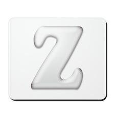 White Letter Z Mousepad