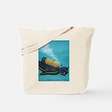 Vintage Scuba Diver Tote Bag