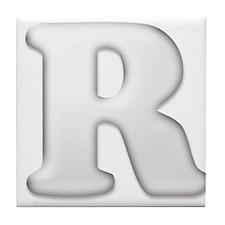 White Letter R Tile Coaster