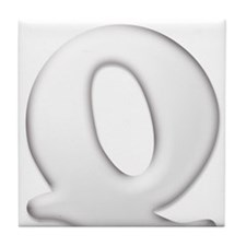 White Letter Q Tile Coaster