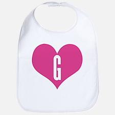 Heart G letter - Love Bib