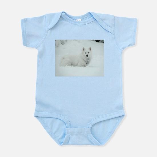 American Eskimo Dog Snow Day Infant Bodysuit