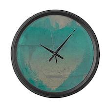 Aqua Heart Abstract Large Wall Clock