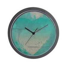 Aqua Heart Abstract Wall Clock