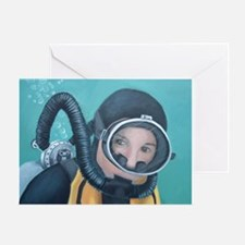 Double Hose Diver Greeting Card