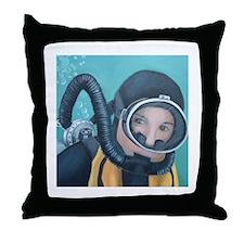 Double Hose Diver Throw Pillow