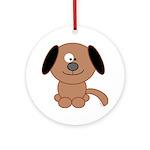Brown Puppy Ornament (Round)
