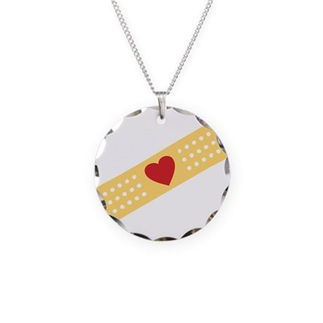 Broken Heart Band Aid Necklace Circle Charm