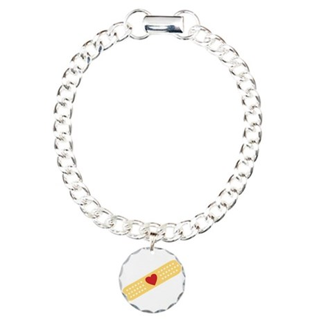 Broken Heart Band Aid Charm Bracelet, One Charm