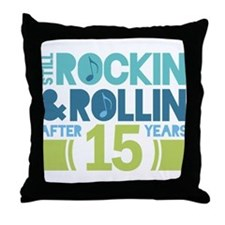 15th Anniversary Rock N Roll Throw Pillow
