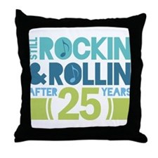 25th Anniversary Rock N Roll Throw Pillow