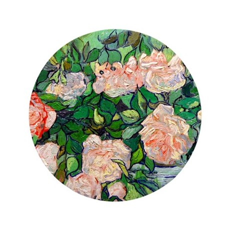 "Van Gogh - Pink Roses 3.5"" Button"