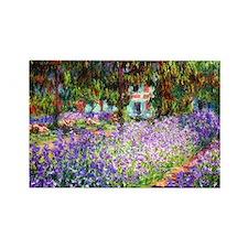 Monet - Irises in Garden Rectangle Magnet