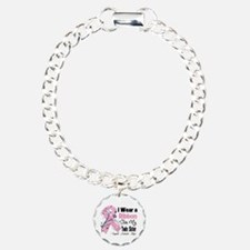 Twin Sister Breast Cancer Charm Bracelet, One Char